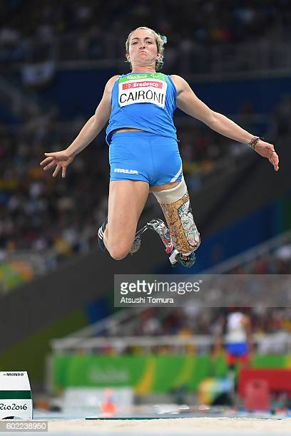 Martina Caironi of Italy competes in the women's long jump T42 final on day 3 of the Rio 2016 Paralympic Games at Olympic stadium on September 10...