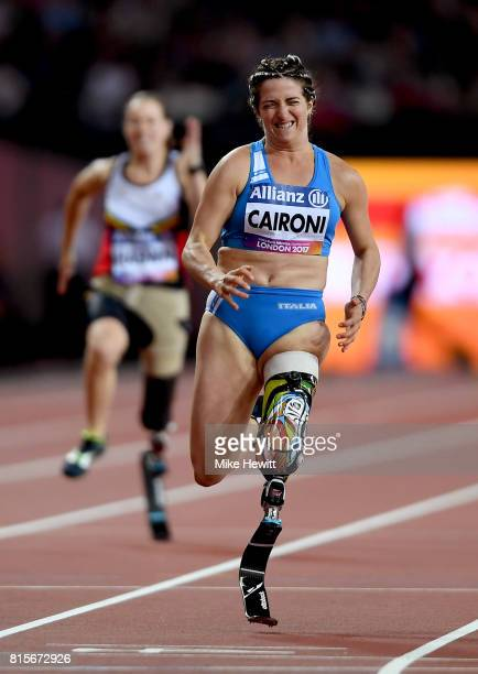 Martina Caironi of Italy crosses the line to win the Women's 100m T42 Final during day three of the IPC World ParaAthletics Championships 2017 at the...
