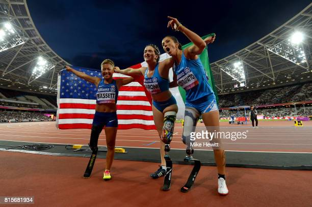 Martina Caironi of Italy Scout Bassett of the USA and Monica Graziana Contrafatto of Italy pose for a photo after competing in the Women's 100m T42...