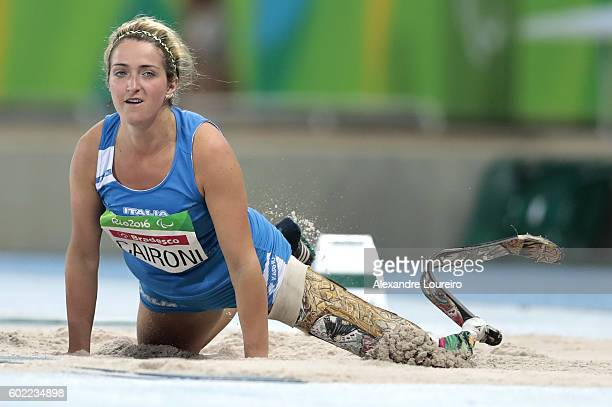 Martina Caironi of Itay competes in the Women's Long Jump T42 Final at Olympic Stadium during day 3 of the Rio 2016 Paralympic Games at on September...