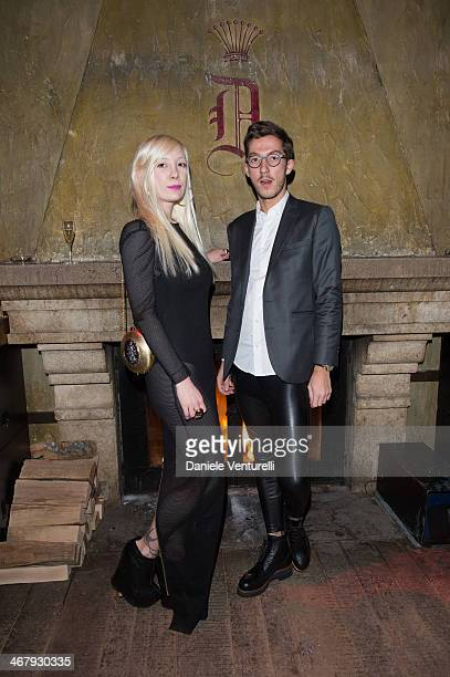 Martina Castoldi and Vittorio Sangiorgi attend the private dinner Host Dean and Dan Caten of Dsquared2 at Dracula's Club in St Moritz on February 8...