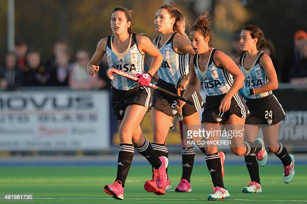 Martina Cavallero of Argentina and her teammates celebrate scoring a goal during the international women's hockey test match between the New Zealand...
