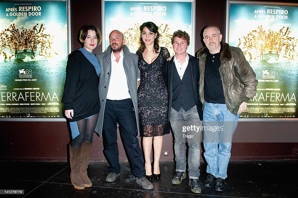 Martina Codecasa, Emanuele Crialese, Donatella Finocchiaro, Filippo Pucillo and Jean-Jacques Beineix attend the 'Terraferma' Paris Premiere at Le Cinema des Cineastes on March 13, 2012 in Paris, France.