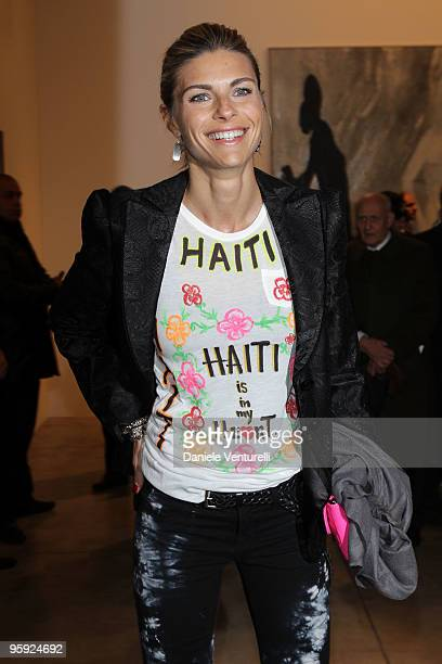 Martina Colombari attends the Jorg Immendorff show at the Cardi Black Box Gallery on January 21 2010 in Milan Italy