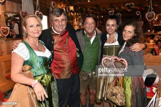 Martina Dingler Peter Pongratz Georg Dingler Ramona Pongratz and Arabella Pongratz attend the Radio Gong 963 Wiesn during the Oktoberfest 2017 on...