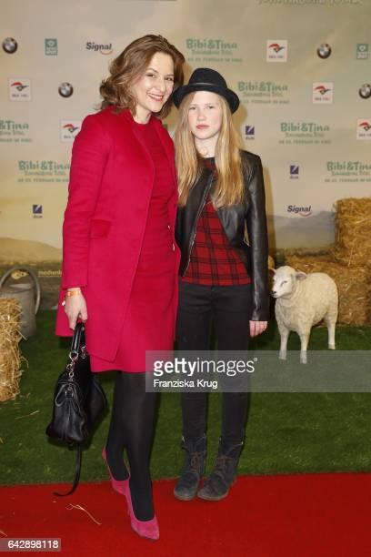 Martina Gedeck and her niec Paula attend the German premiere of the film 'Bibi Tina Tohuwabohu Total' at Kino in der Kulturbrauerei on February 19...