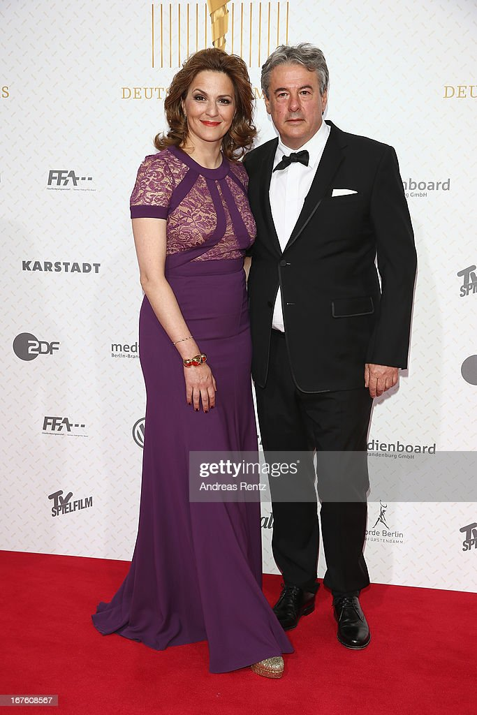 Martina Gedeck and partner Markus Imboden arrive for the Lola - German Film Award 2013 at Friedrichstadt-Palast on April 26, 2013 in Berlin, Germany.