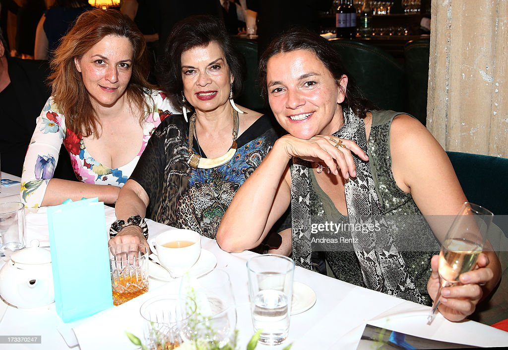 Martina Gedeck, Bianca Jagger and Katja von Garnier attend the Cinema for Peace UN women charity dinner at Soho House on July 12, 2013 in Berlin, Germany.