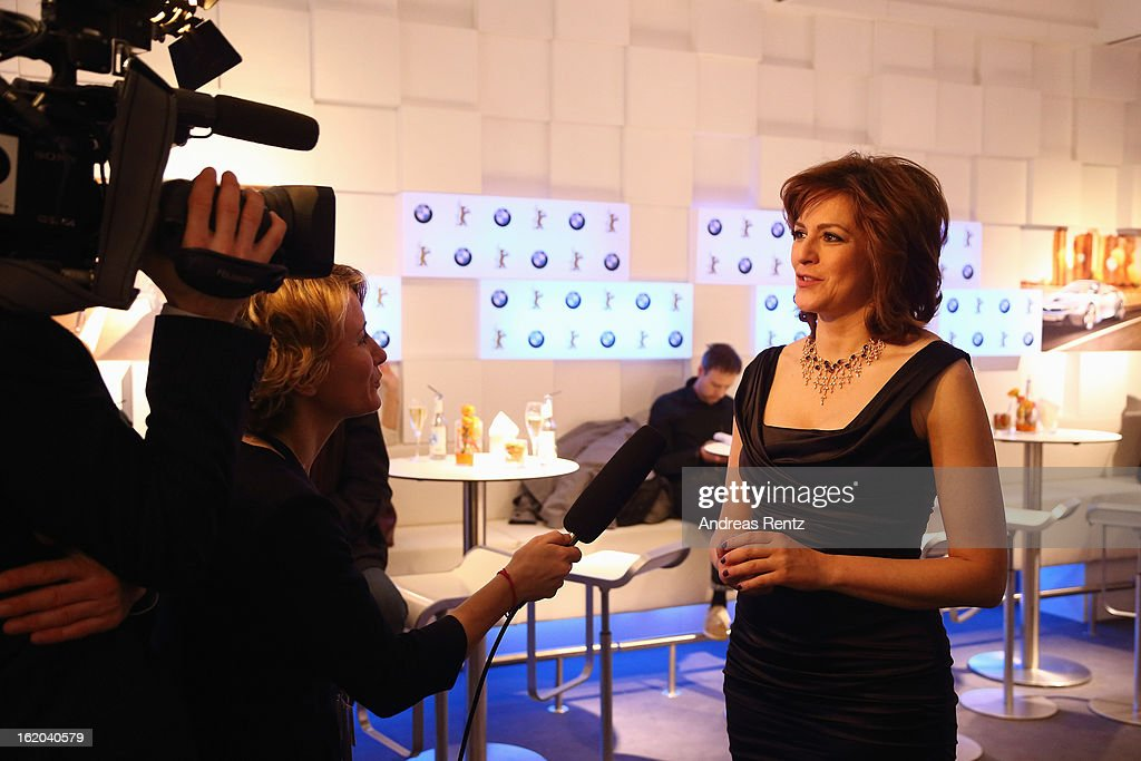 <a gi-track='captionPersonalityLinkClicked' href=/galleries/search?phrase=Martina+Gedeck&family=editorial&specificpeople=621042 ng-click='$event.stopPropagation()'>Martina Gedeck</a> gives an interview at 'BMW Golden Bear Lounge' at the 63rd Berlinale International Film Festival on February 16, 2013 in Berlin, Germany.