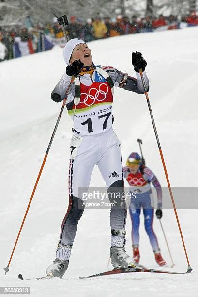Martina Glagow of Germany competes in the Womens Biathlon 10km Pursuit Final on Day 8 of the 2006 Turin Winter Olympic Games on February 18 2006 in...