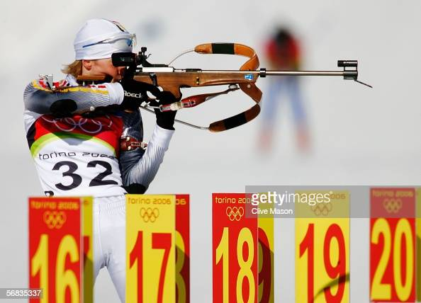 Martina Glagow of Germany shoots during the Womens Biathlon 15km Individual Final on Day 3 of the 2006 Turin Winter Olympic Games on February 13 2006...