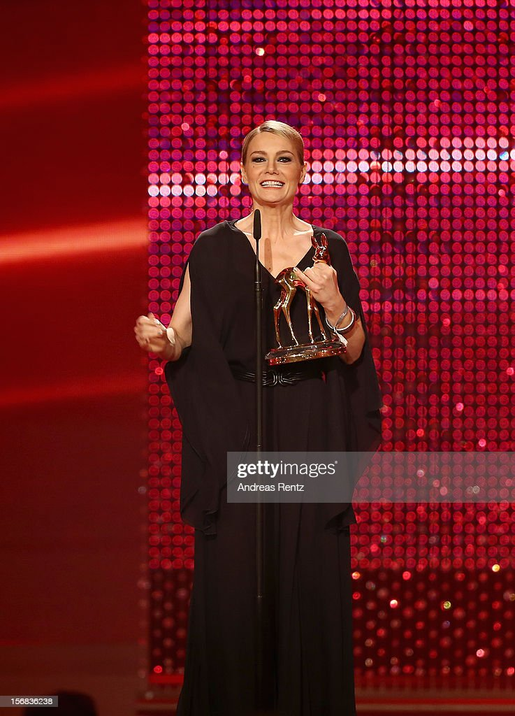 Martina Hill receives the Bambi Award 'Comedy' during the 'BAMBI Awards 2012' at the Stadthalle Duesseldorf on November 22, 2012 in Duesseldorf, Germany.