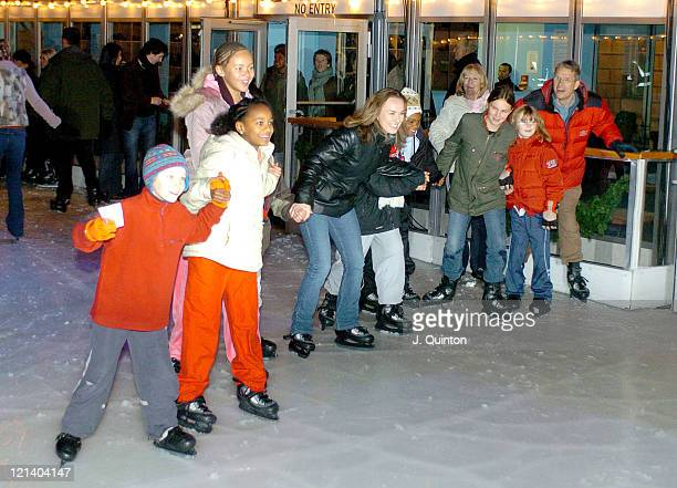 Martina Hingis and guests during UN Year of Sport in Europe Photocall and Party at Somerset House Ice Rink in London Great Britain