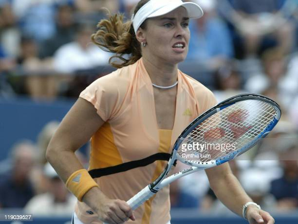 Martina Hingis during her first round match against Shuai Peng during the US Open at the USTA National Tennis Center in Flushing Queens New York on...