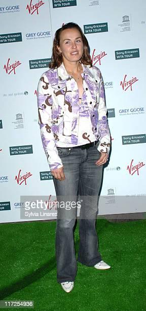 Martina Hingis during PreWimbledon Party Arrivals at Kensington Roof Gardens in London Great Britain