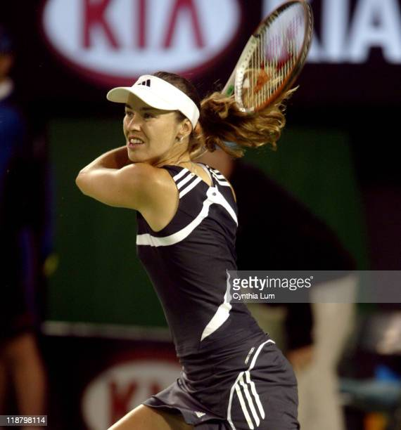 Martina Hingis finally hits the winning shot during the Fourth Round Match against Samantha Stoser at the Australian Open in Melbourne Park Hingis...