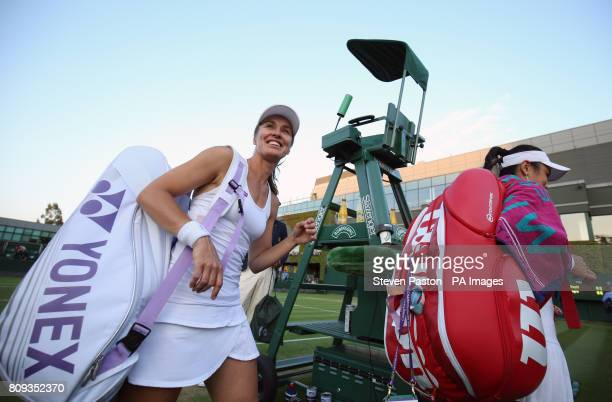 Martina Hingis following a doubles match against Alize Cornet and Xenia Knoll on day three of the Wimbledon Championships at The All England Lawn...