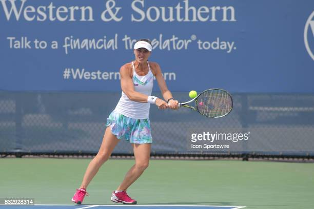 Martina Hingis hits a backhand during the Western Southern Open at the Lindner Family Tennis Center in Mason Ohio on August 16 2017