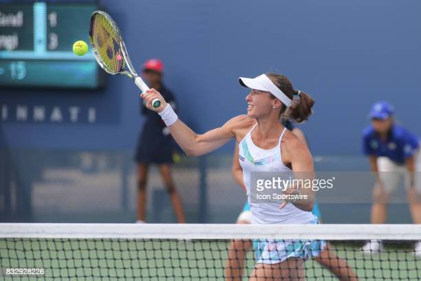 Martina Hingis hits a forehand during the Western Southern Open at the Lindner Family Tennis Center in Mason Ohio on August 16 2017