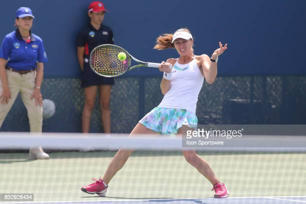 Martina Hingis hits a volley during the Western Southern Open at the Lindner Family Tennis Center in Mason Ohio on August 16 2017