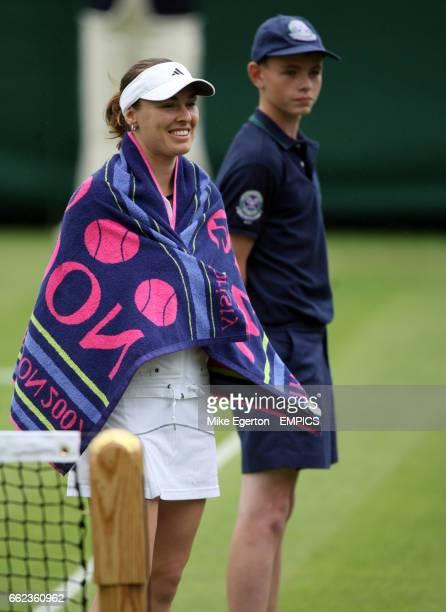 Martina Hingis in action against Naomi Cavaday