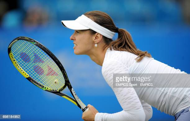 Martina Hingis in action during her doubles match with Flavia Pennetta against Ekaterina Makarova and Elena Vesnina during the AEGON International at...