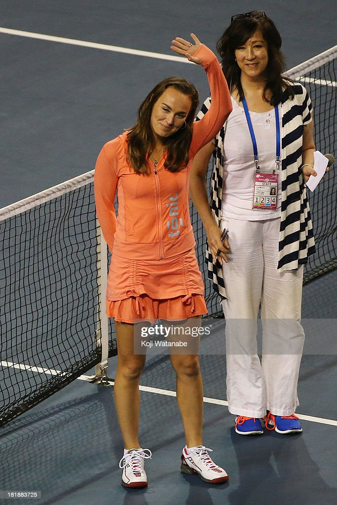 Martina Hingis makes a visit and waves to the audience on day five of the Toray Pan Pacific Open at Ariake Colosseum on September 26, 2013 in Tokyo, Japan.