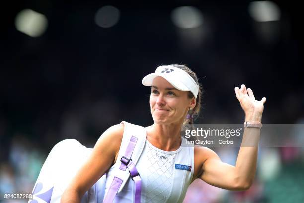 Martina Hingis of Switzerland after victory with Jamie Murray of Great Britain during the Mixed Doubles Final on Center Court during the Wimbledon...