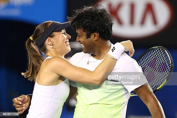 Martina Hingis of Switzerland and Leander Paes of India celebrate winning their final mixed doubles match against Kristina Mladenovic of France and...