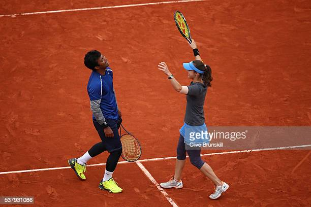 Martina Hingis of Switzerland and Leander Paes of India celebrate victory during the Mixed Doubles final match against Sania Mirza of India and Ivan...