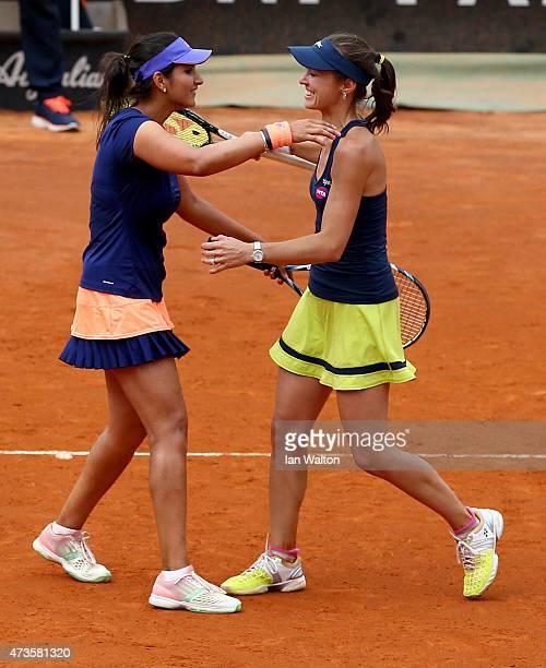 Martina Hingis of Switzerland and Sania Mirza of India celebrates winning their Women's Semi Final against Caroline Garcia and Katarina Srebotnik on...
