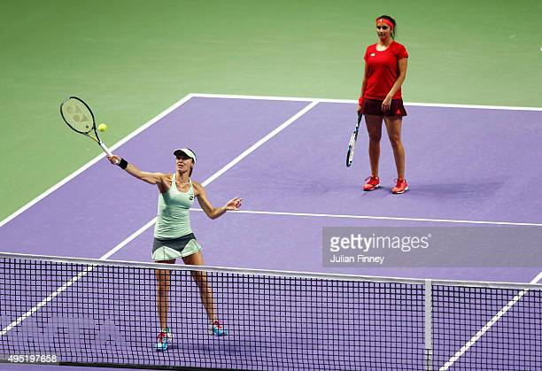 Martina Hingis of Switzerland and Sania Mirza of India in action during their doubles final match against Carla Suarez Navarro and Garbine Muguruza...