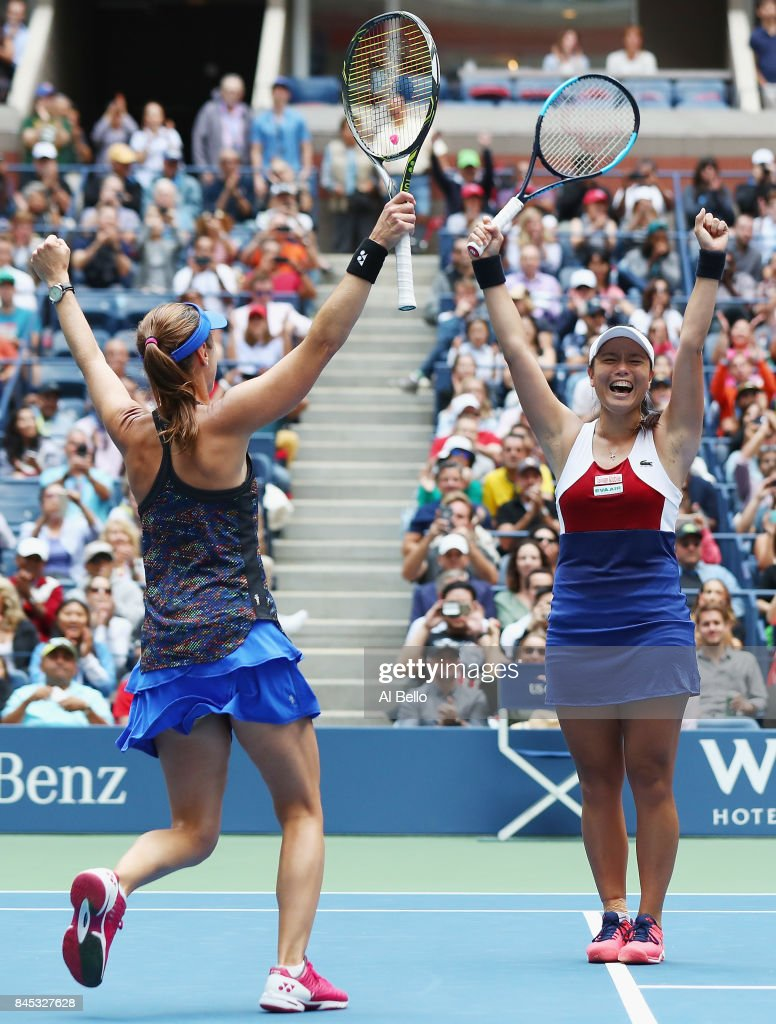 Martina Hingis of Switzerland and Yung-Jan Chan of Taiwan celebrate defeating Lucie Hradecka of Czech Republic and Katerina Siniakova of Czech Republic after their Women's Doubles finals match on Day Fourteen of the 2017 US Open at the USTA Billie Jean King National Tennis Center on September 10, 2017 in the Flushing neighborhood of the Queens borough of New York City. Chan and Hingis won the match in the second set with a score of 6-3, 6-2.