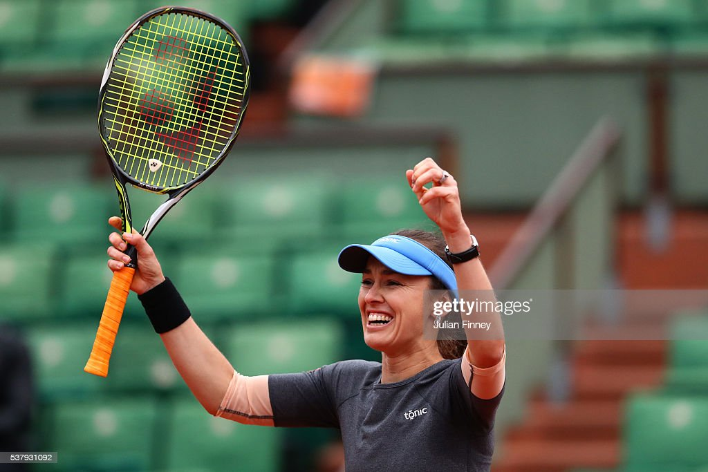 Martina Hingis of Switzerland celebrates victory during the Mixed Doubles final match against Sania Mirza of India and Ivan Dodig of Croatia on day thirteen of the 2016 French Open at Roland Garros on June 3, 2016 in Paris, France.