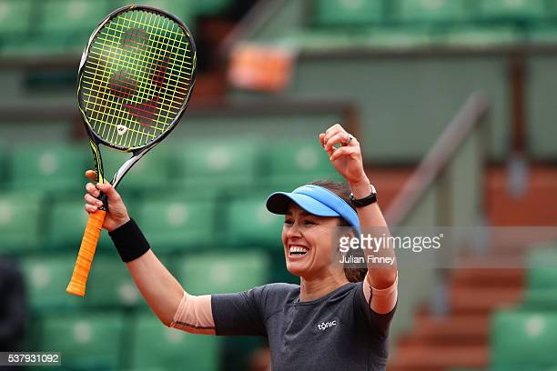 Martina Hingis of Switzerland celebrates victory during the Mixed Doubles final match against Sania Mirza of India and Ivan Dodig of Croatia on day...
