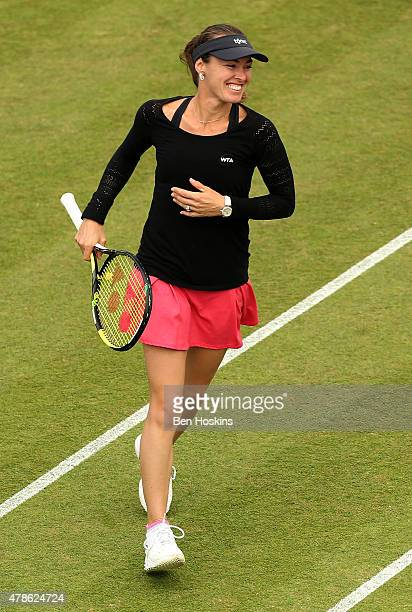 Martina Hingis of Switzerland celebrates winning a point during the doubles semi final against Caroline Garcia of France and Katarina Srebotnik of...