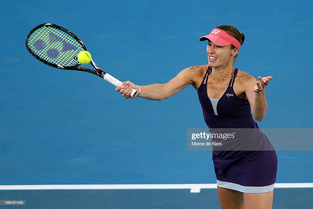 <a gi-track='captionPersonalityLinkClicked' href=/galleries/search?phrase=Martina+Hingis&family=editorial&specificpeople=202183 ng-click='$event.stopPropagation()'>Martina Hingis</a> of Switzerland competes during the World Tennis Challenge at Memorial Drive on January 9, 2013 in Adelaide, Australia.