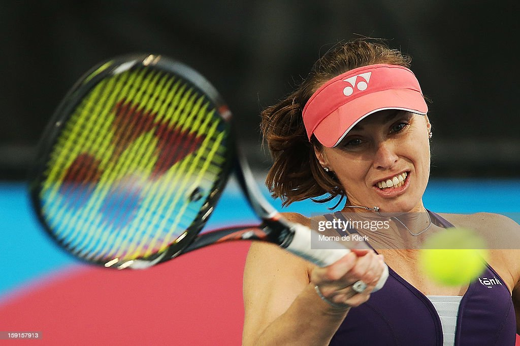 Martina Hingis of Switzerland competes during the World Tennis Challenge at Memorial Drive on January 9, 2013 in Adelaide, Australia.