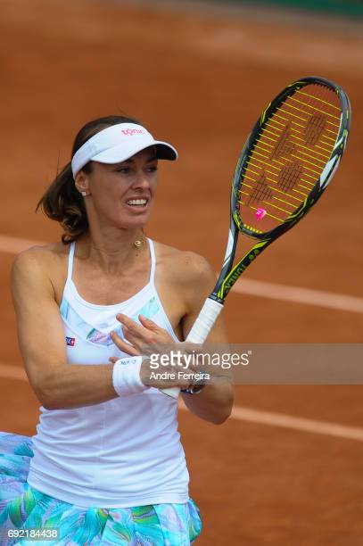 Martina Hingis of Switzerland during the day 8 of the French Open at Roland Garros on June 4 2017 in Paris France