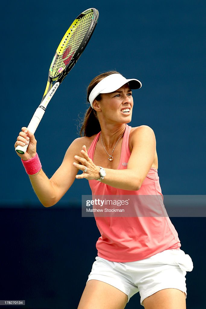 Martina Hingis of Switzerland in action during a practice session on Day Three of the 2013 US Open at USTA Billie Jean King National Tennis Center on August 28, 2013 in the Flushing neighborhood of the Queens borough of New York City.