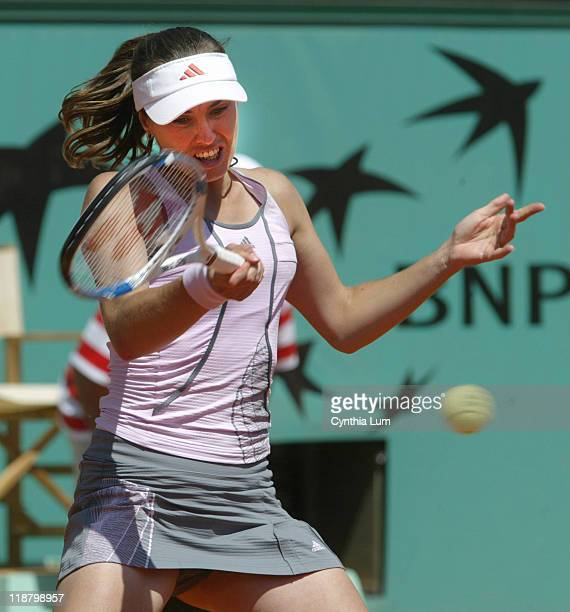 Martina Hingis of Switzerland in action during her defeat by Belgium's Kim Clijsters in the quarterfinals of the 2006 French Open at Roland Garros in...
