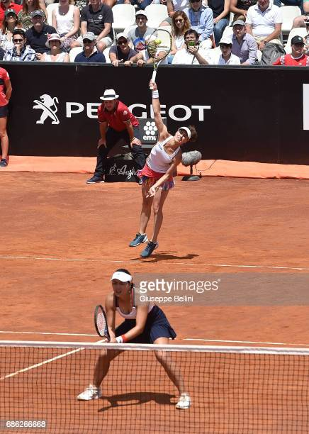Martina Hingis of Switzerland in action during the WTA Doubles Final match between YungJan Chan of Taiwan and Martina Hingis of Switzerlandand and...