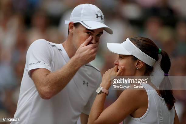 Martina Hingis of Switzerland in action with Jamie Murray of Great Britain during the Mixed Doubles Final on Center Court during the Wimbledon Lawn...