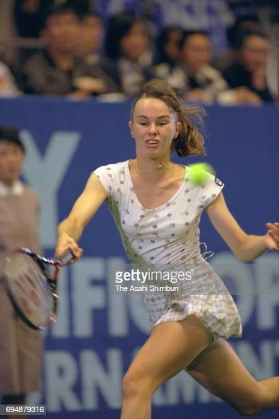 Martina Hingis of Switzerland plays a backhand during the semi final against Iva Majoli of Croatia during day five of the Toray Pan Pacific Open at...