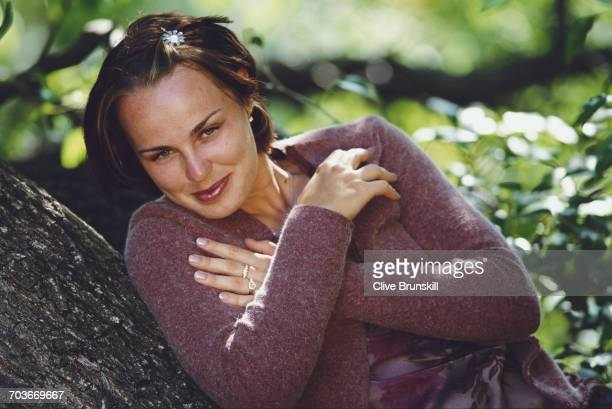 Martina Hingis of Switzerland poses for a portrait for sports clothing accessories company Adidas at the Australian Open tennis tournament on 27...