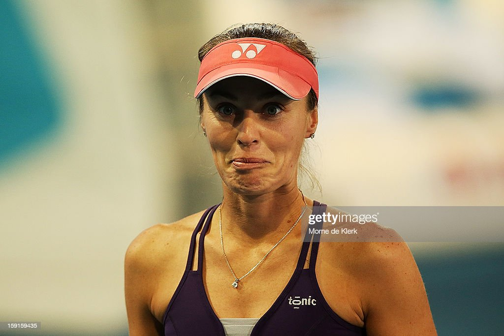 <a gi-track='captionPersonalityLinkClicked' href=/galleries/search?phrase=Martina+Hingis&family=editorial&specificpeople=202183 ng-click='$event.stopPropagation()'>Martina Hingis</a> of Switzerland reacts during the World Tennis Challenge at Memorial Drive on January 9, 2013 in Adelaide, Australia.