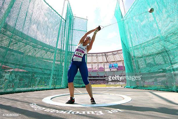 Martina Hrasnova of Slovakia competes during the Women's Hammer Throw on day ten of the Baku 2015 European Games at the Olympic Stadium on June 22...