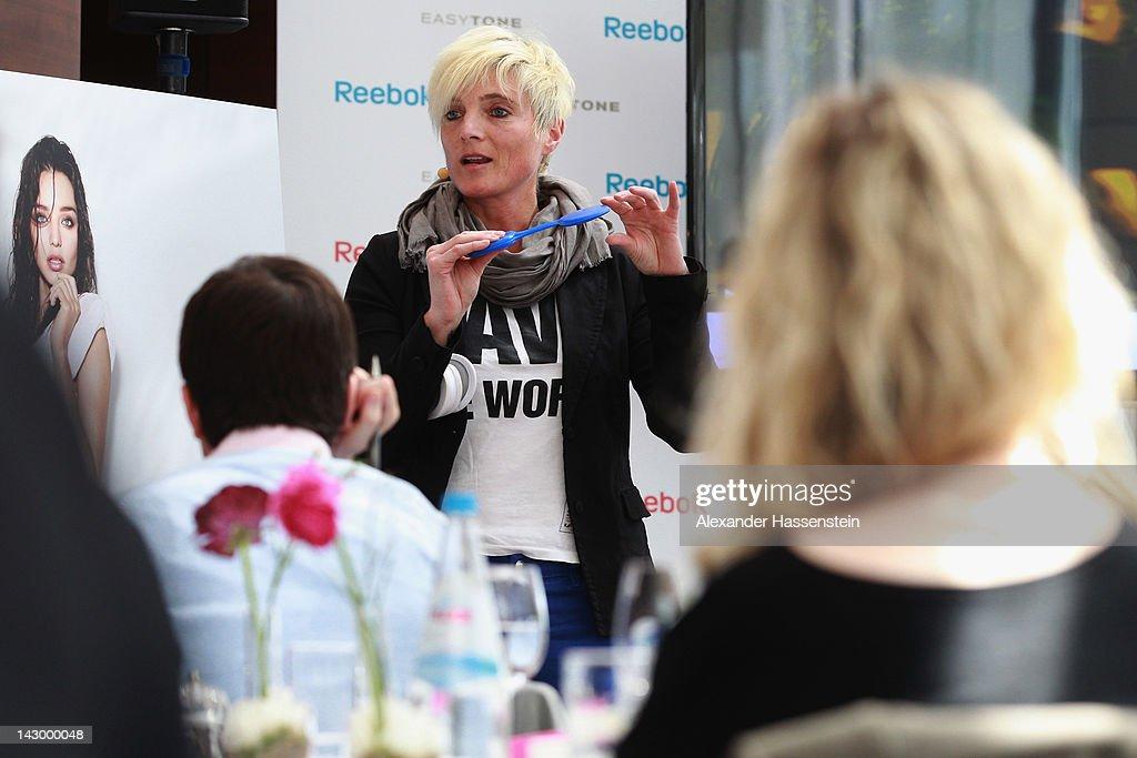 Martina Jahrbacher, VP Global Women's SBU, explained the technology inside the Reebok EasyTone shoes during the Reebok EasyTone event on the roof of the Bayerisch Hof Hotel on April 17, 2012 in Munich, Germany.