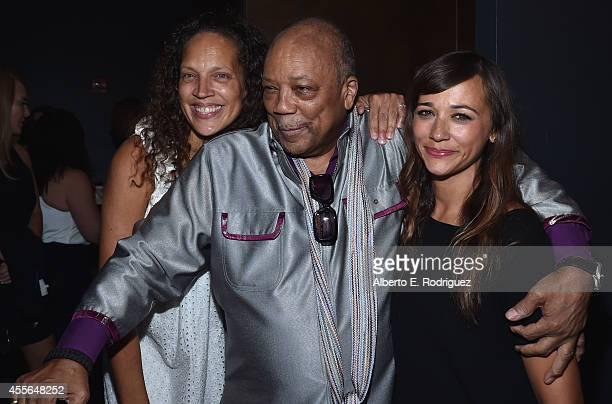 Martina Jones producer Quincy Jones and actress Rashida Jones arrive to the premiere of RADIUSTWC's 'Keep On Keepin' On' at Landmark Theatre on...