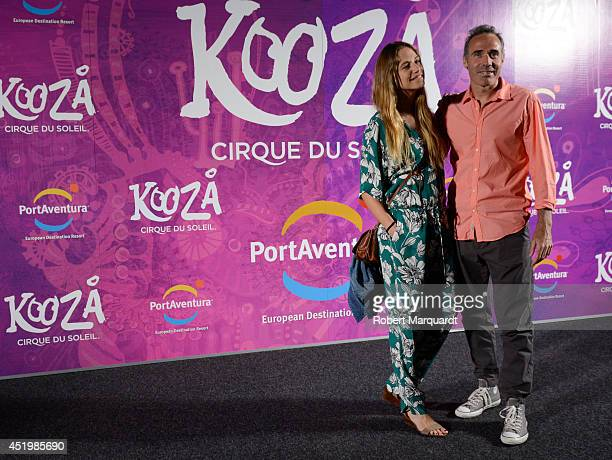 Martina Klein and Alex Corretja pose during a photocall for the premiere of 'Kooza' a Cirque du Soleil production at Portaventura on July 10 2014 in...